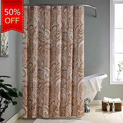 KindoBest Khaki/Tan Geometry Colorful Pattern Shower Curtains For Bathroom  Waterproof/Easy Care Polyester