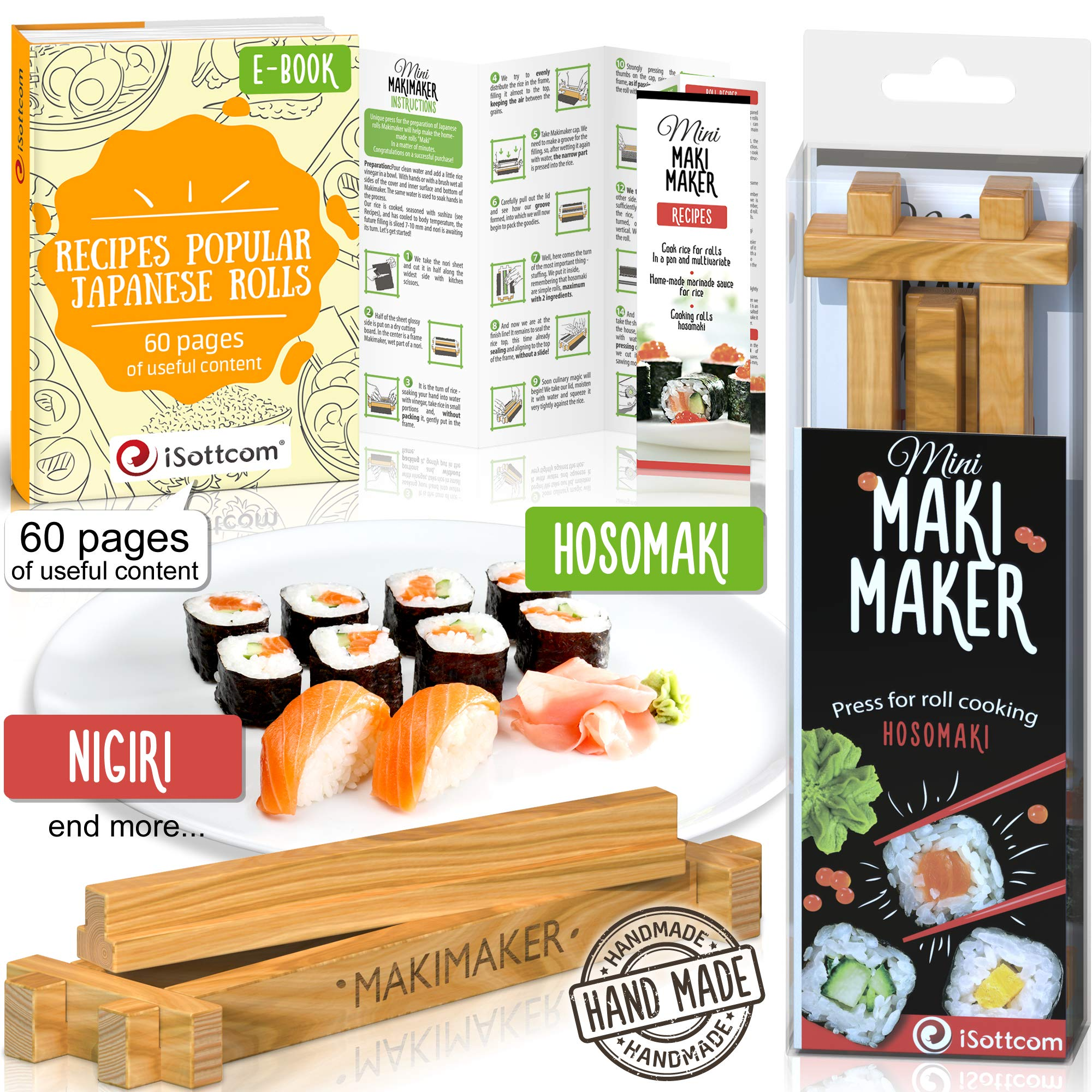 Sushi Making Kit by iSottcom – Makimaker Mini – Sushi Maker Best for Beginners and Kids – Sushi Kit – Japanese Sushi and Rolls at Home Quick and Easy with Sushi Mold – Sushi Press – Original Gift Idea