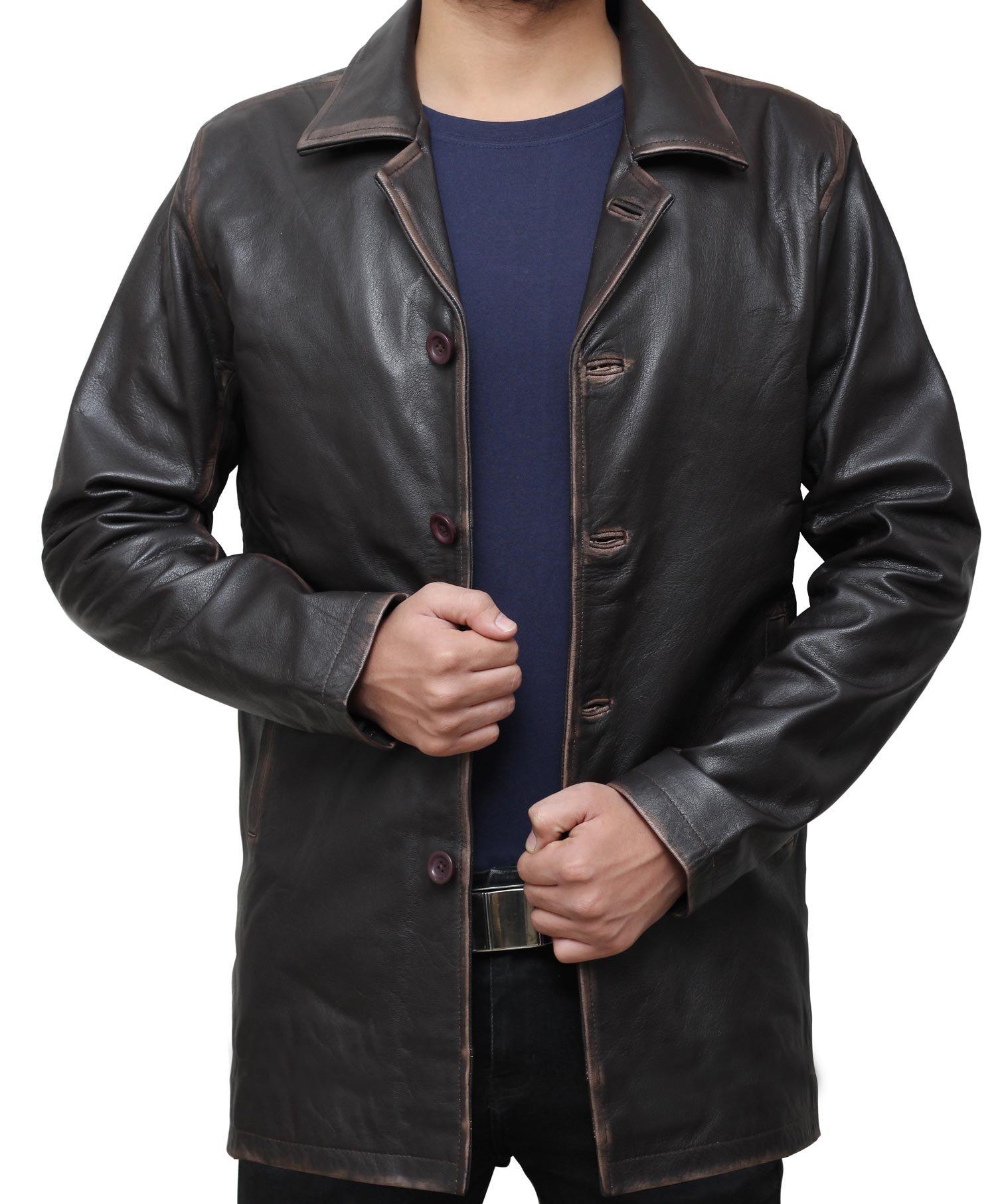 Dark Brown Leather Jacket Coat - Supernatural Distressed   M