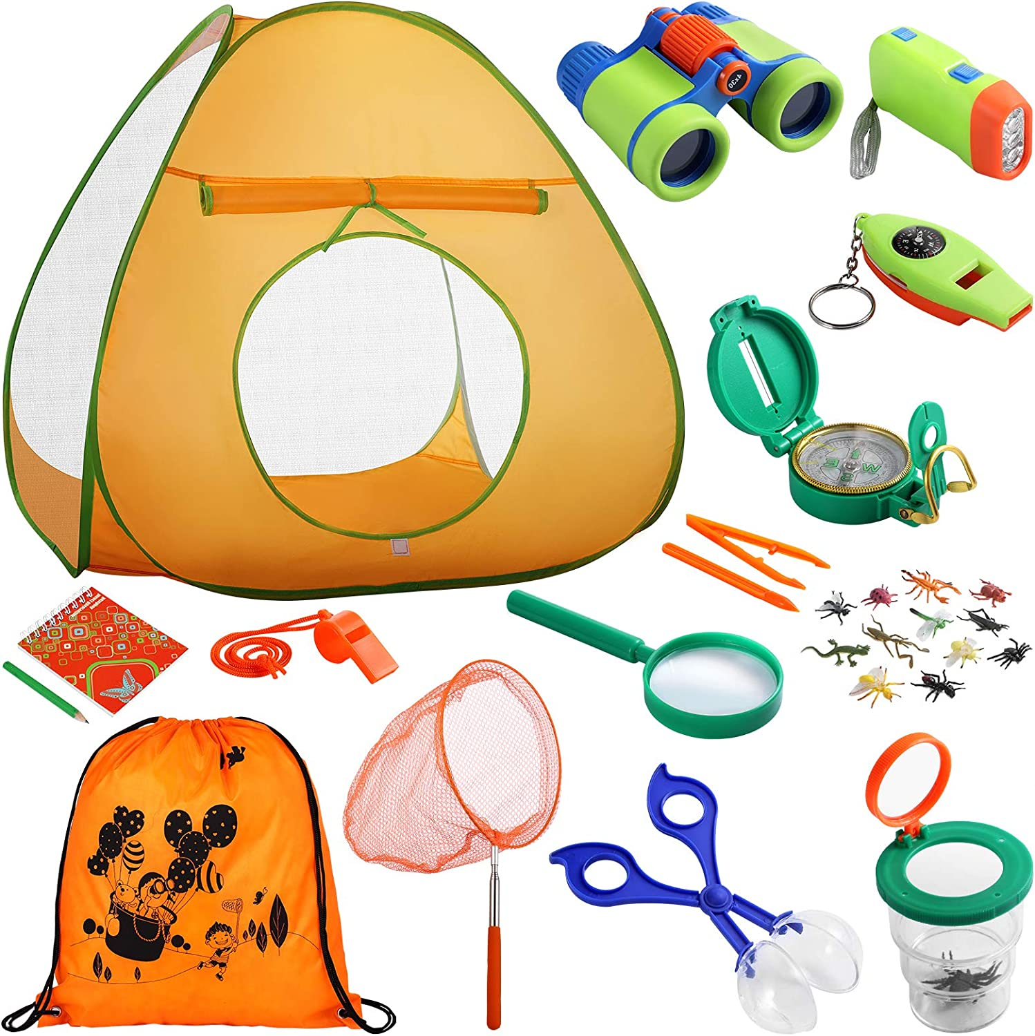 iBaseToy Kids Camping Set with Tent 28 PCS - Camping Toys Adventure Kit for Kids Toddlers Boys - Including Binoculars, Compass, Flashlight, Bug Catching Kit, Camping Tent and etc