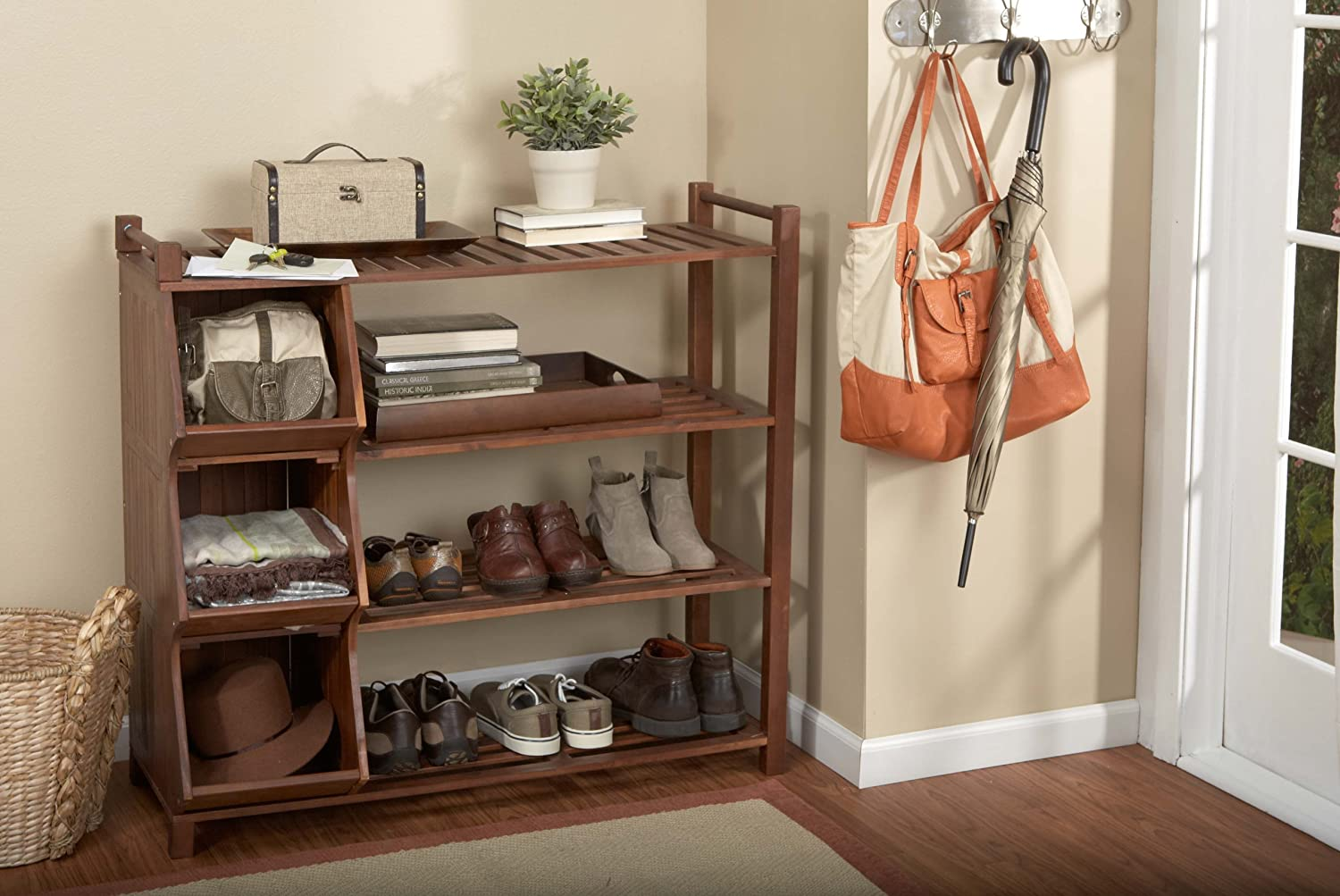 Com Merry Products Slf0020170000 4 Tier Outdoor Shoe Rack And Cubby Garden