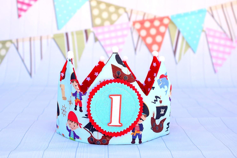 Corona cumpleaños piratas niño, regalo primer cumpleaños, corona reversible