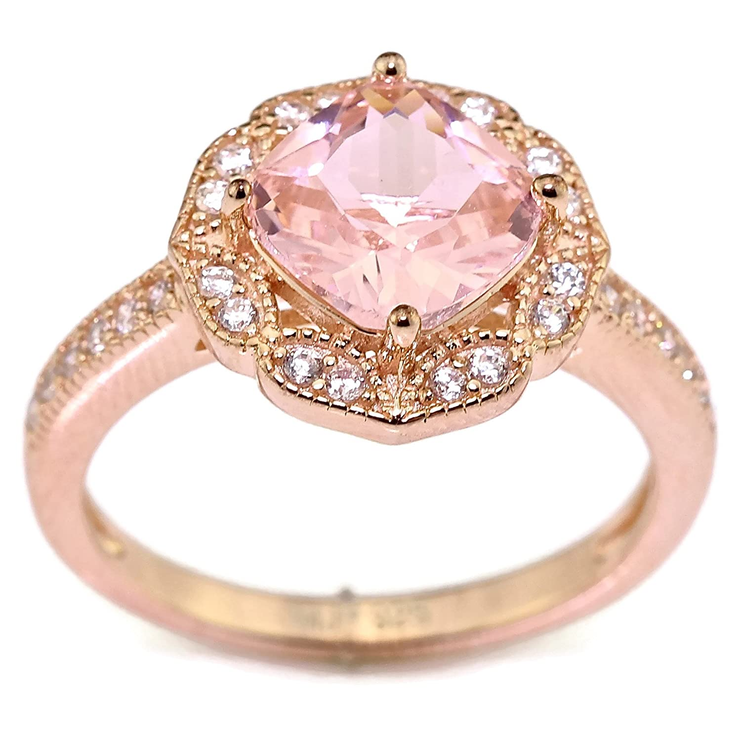Created Rose Pink Morganite Floral Halo Solitaire Bridal Engagement