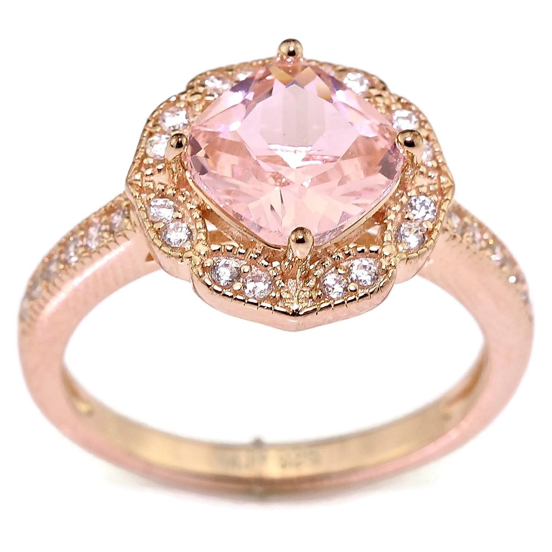 Created Rose Pink Morganite Floral Halo Solitaire Bridal