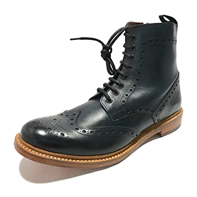 London Brogues Mens Gents Hand Made Classic Brunswick Brogue Chelsea Ankle  Boots Real Leather Smart Formal