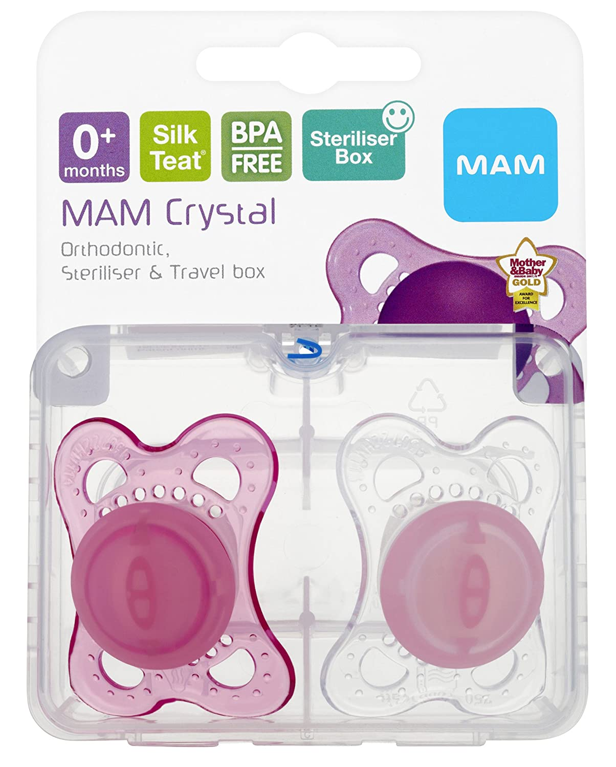 MAM Original 0 Pack of 2 Design and Color may vary Soother Suitable with Sterilisable Travel Case