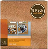 "Quartet Cork Tiles, 12"" x 12"", Cork Board, Bulletin Board, Mini Wall, 8 Pack (108)"