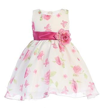 31736e93e3126 Lito Girls Easter Dress - Girls Spring Dress - Floral Print Dress - Fuchsia  Easter Dress