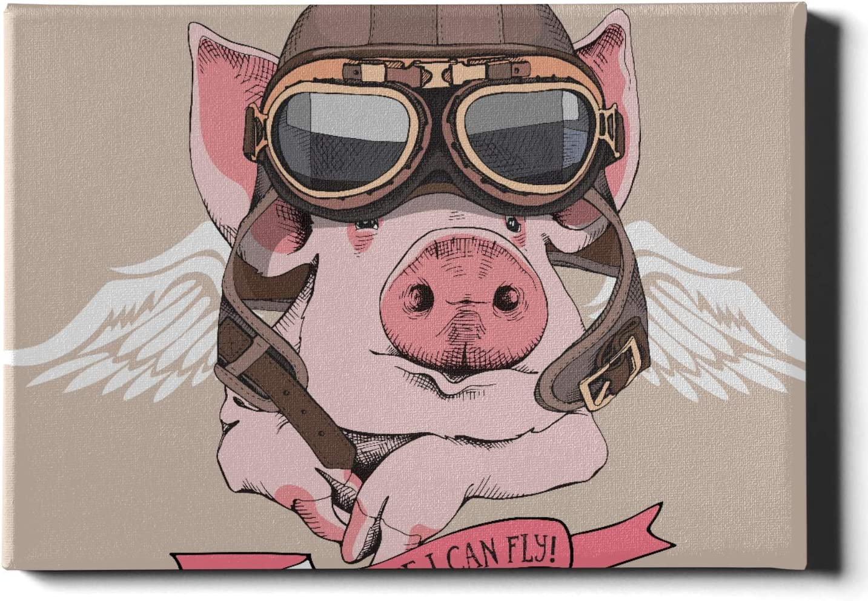 Pintura de decoración de pared Funny Pig Retro Cuero Aviador Casco Pintura de paredes 12 X 16 pulgadas (30x40cm) Decoración de pared para hombre Obras de arte de pared Cuadros para colgar en la sala