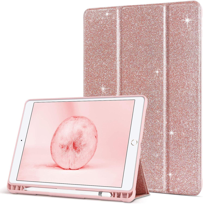 BENTOBEN iPad 8th / 7th Generation Case, iPad 10.2 Case 2020/2019, Glitter Folio Stand Smart Auto Wake/Sleep with Pencil Holder PU Leather Protective Girls Women Case for iPad 10.2 2020/2019,Rose Gold