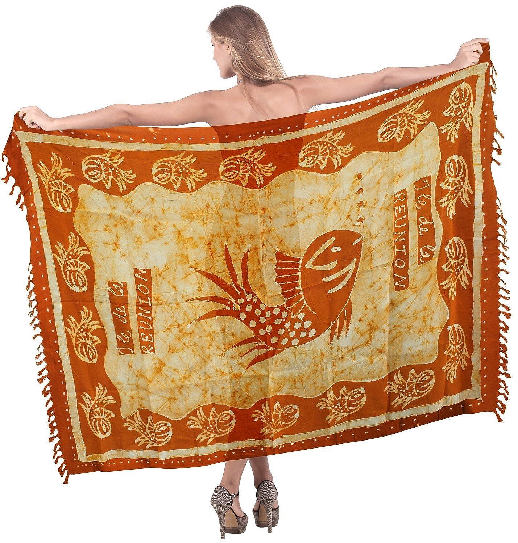 La Leela Hand Batik Seefisch sanft glatt Rayon Orange 5 in einem Bademode/Badeanzug vertuschen/sundress/Bikini Schlitz Rock/Damen wickeln Pareo/plus Größe Badeanzug Sarong langes Kleid 198x99 cm