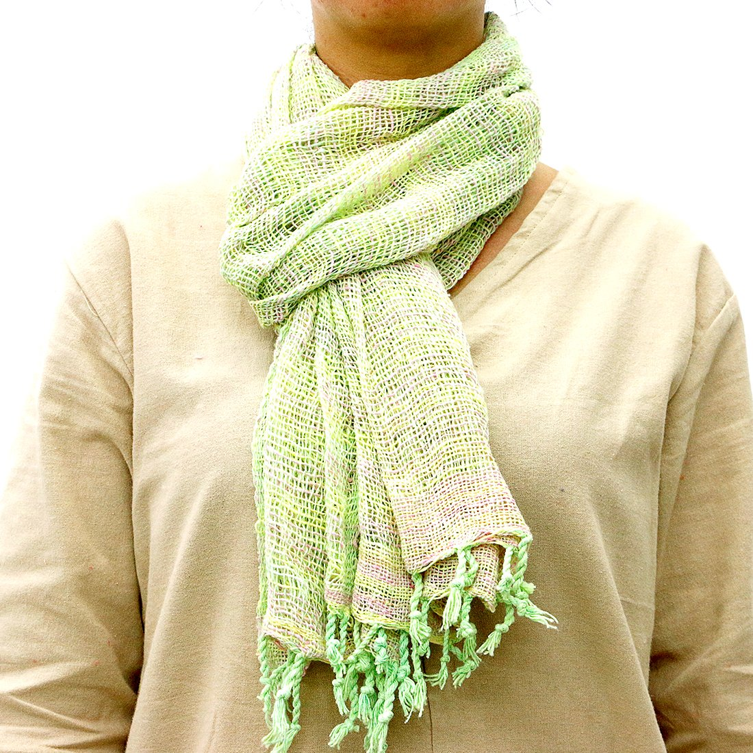 Taruron Woven Net Cotton Plain or Multi Colors Summer fashionable Scarf (Green)
