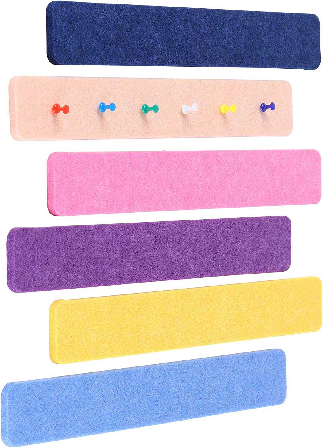 Felt Bulletin Board Bar Strip, Self-Adhesive Felt Board Strip, No Frame Wall Decorative Bulletin Board with 20 Pieces Push Pins for Office Classroom Home, 6 Colors Bars