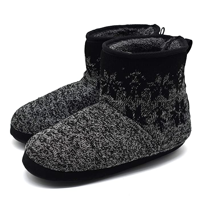 ONCAI Men's Handmade Woolen Yarn Indoor Slipper Boots Sherpa Lined (US 12-13, Black-Grey)