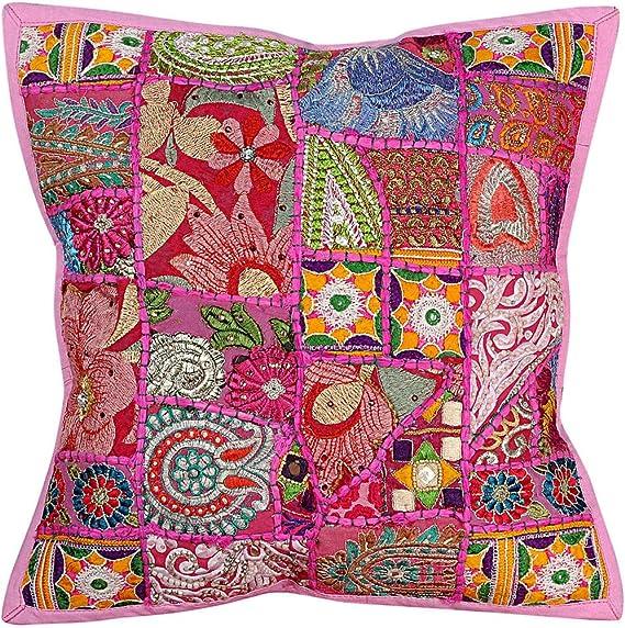 Vintage Hippie Stickerei Arbeit handgefertigte Kissenbezug Kissenbezug, Kissen einfügen, indische Kissenbezug, dekorative Sofa Boho Chic böhmischen