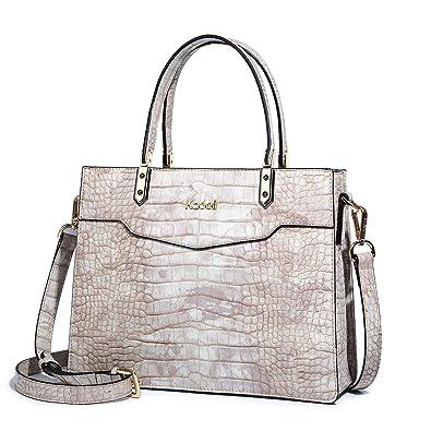 7ab666407b64 Kadell Ladies Top Handle Tote Bag for Women Crocodile Embossed Purses and Handbags  Beige