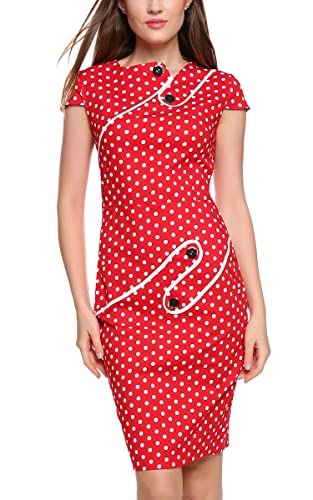 ACEVOG Women Office Tunic Wear To Work Business Party Pencil Sheath Dress