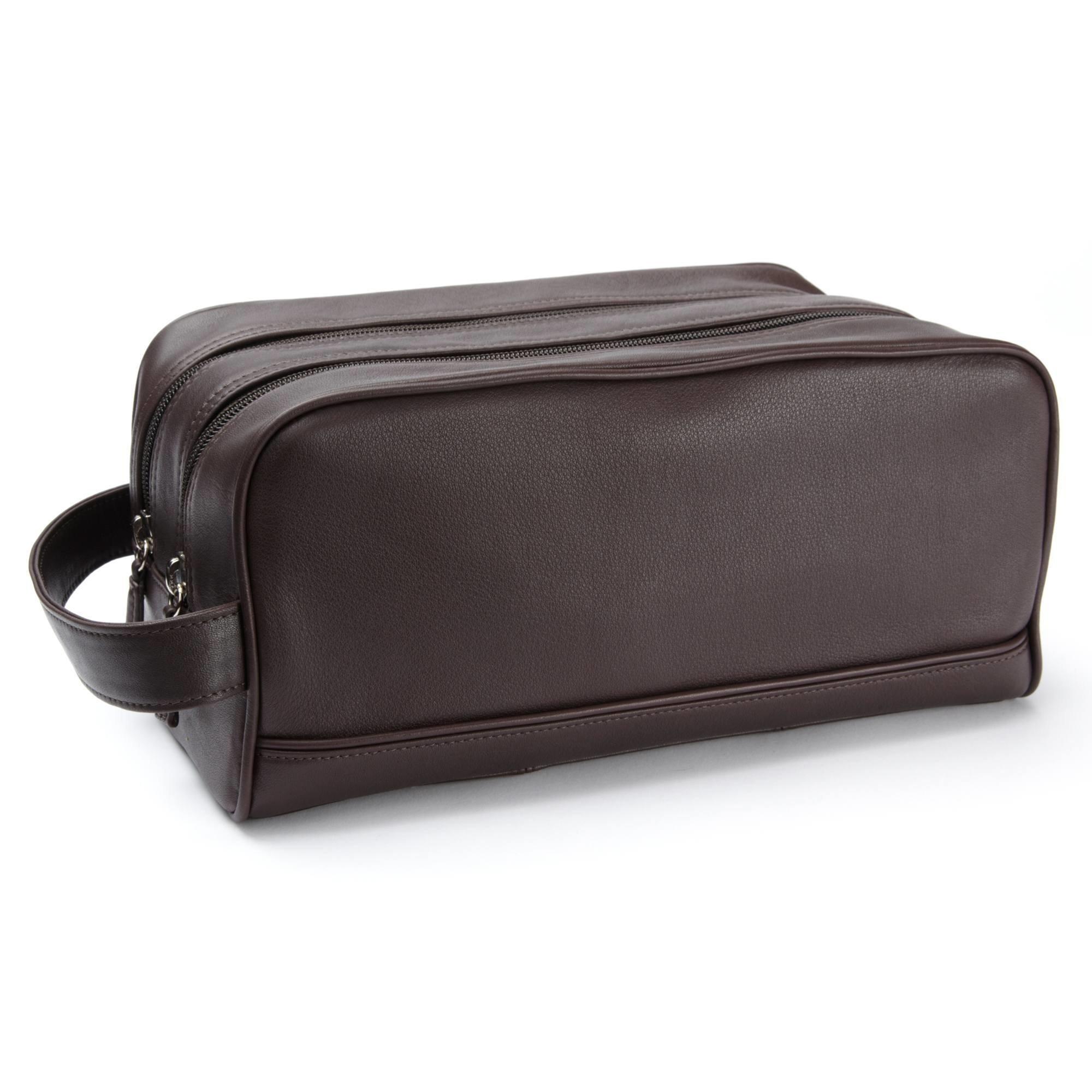 Double Zip Toiletry Bag - Full Grain Leather - Chocolate Brown (brown)