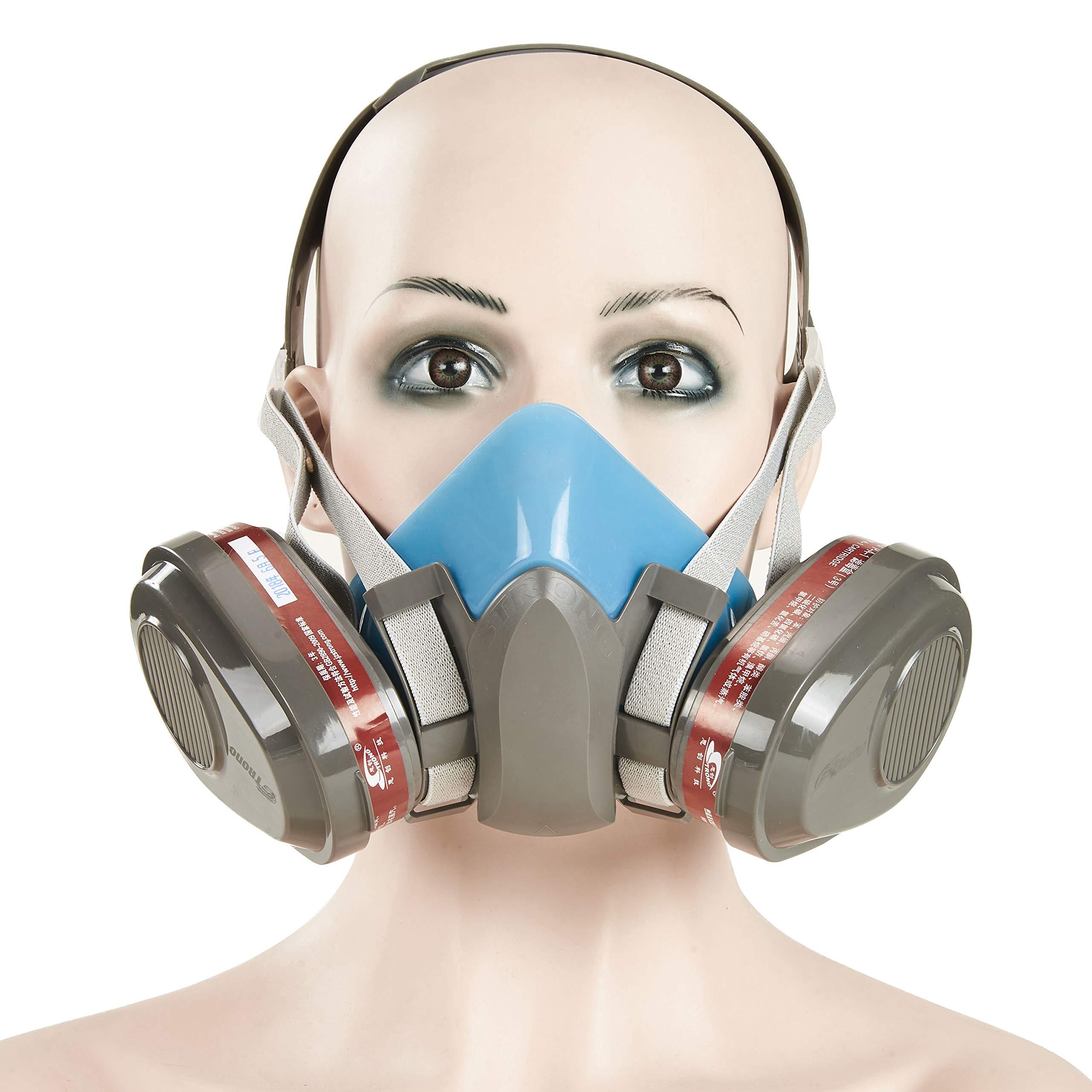 Houlo Half Facepiece Safety Respirator Respiratory Protection with Organic Vapor Cartridge 1 Pair (ST-M40-3B mask+ 1 pair filter cartridge)