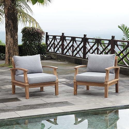 Modway EEI-1819-NAT-GRY-SET Marina Premium Grade A Teak Wood Outdoor Patio