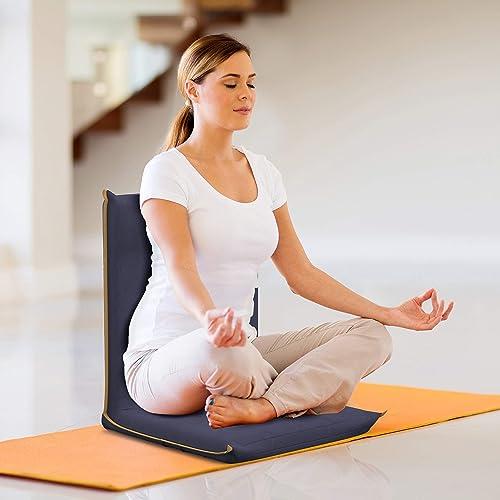 bonVIVO Easy II Padded Floor Chair with Adjustable Backrest, Comfortable, Semi-Foldable Folding Chair, for Meditation, Stadium, Bleachers, Reading, Bed,...