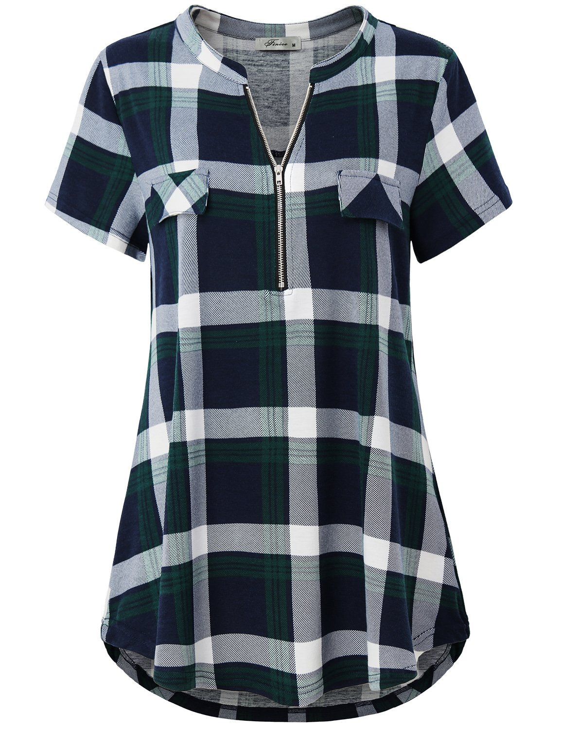 Finice V Neck Blouse, Women's Plus Size Clothing Zipper up Polo Collar Short Sleeve Tunic Tops Stylish Casual Wear Prime Utility Color Block Shirttail Plaid Knit Henley Shirt Green XL