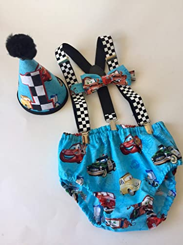 Amazon Disney Cars Boys Cake Smash First Birthday Outfit With Polka Dot Clip Suspenders And Bow Tie W Optional Party Hat Handmade