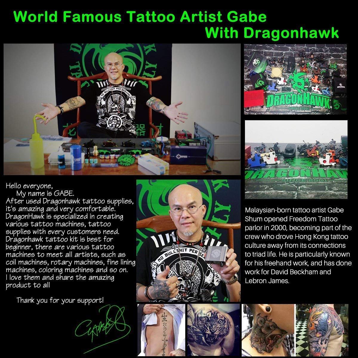Dragonhawk Complete Tattoo Kit 2 Machine Gun 10 Color Inks Power Supply by Dragon Hawk (Image #8)