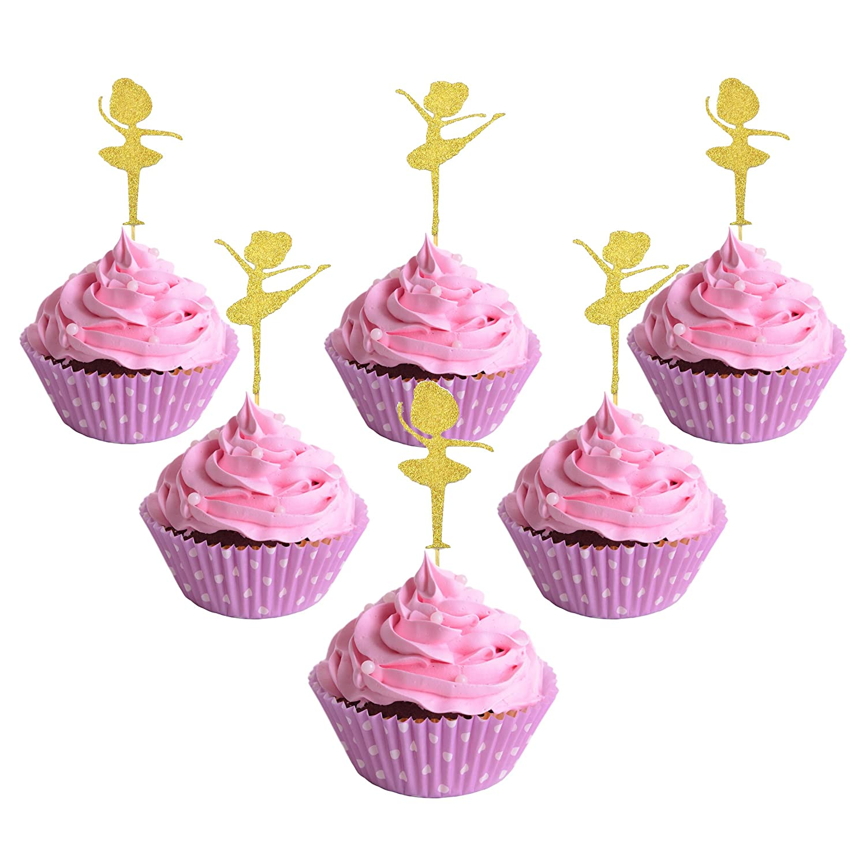 Amazon.com: Elesa Miracle 24pc Glitter Gold Ballerina Cake Cupcake ...