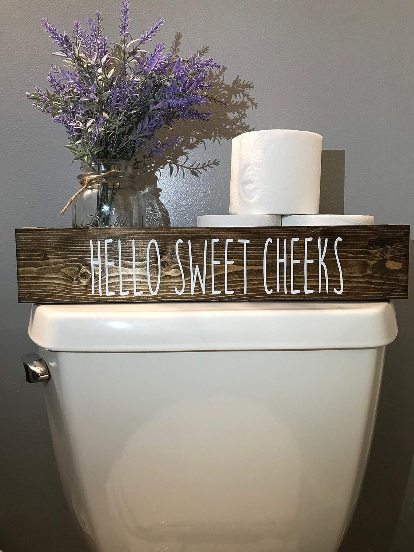 Hello Sweet Cheeks RD Decorative Dark Walnut Toilet Topper Bathroom Storage Box Toilet Paper Holder