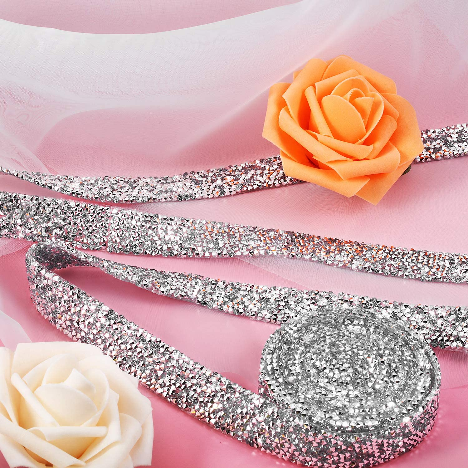 Crystal Rhinestone Ribbon 3 Yards Diamond Sparkling Bling Ribbons Roll Banding Belt Wrap for Wedding Cakes Birthday Crafts Decorations 0.59 Inch, Clear