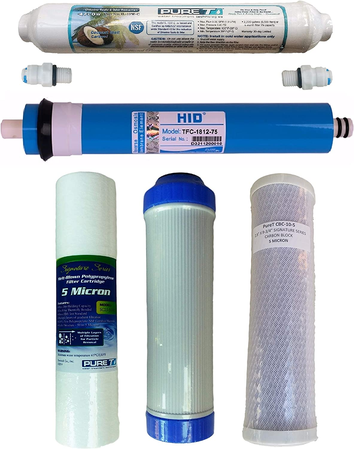 5 Stage 75 GPD RO Membrane Reverse Osmosis System Water Filter Cartridges 5-Pack