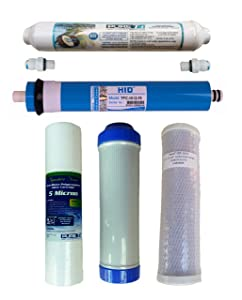 Water Filter Set with RO Membrane, 75 GPD Membrane, for 5 Stage System