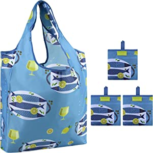 Reusable Grocery Bags Machine Washable 3 Pack with Attached Little Pouch Foldable and Lightweight Sea Animal Shopping Bags for Groceries Large Volume Rip-stop Nylon Durable Fish Design (Blue)