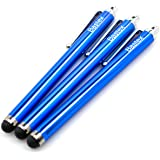 Bastex On The Go Pack of 3 Blue Universal Stylus Touch Screen Pen for iPad iPhone Samsung Motorola LG