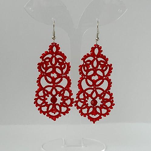 98f78009e Amazon.com: Red Lace Beaded earrings Handmade earrings Long earrings Dangle  Statement Tatted Jewelry Womens gift Victorian: Handmade