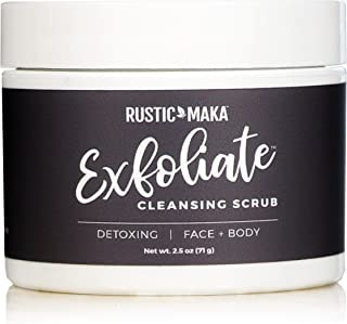 product image for Rustic MAKA EXFOLIATE Cleansing Scrub | Clay + Bamboo + Charcoal for Face + Body Detox, 2.5 oz