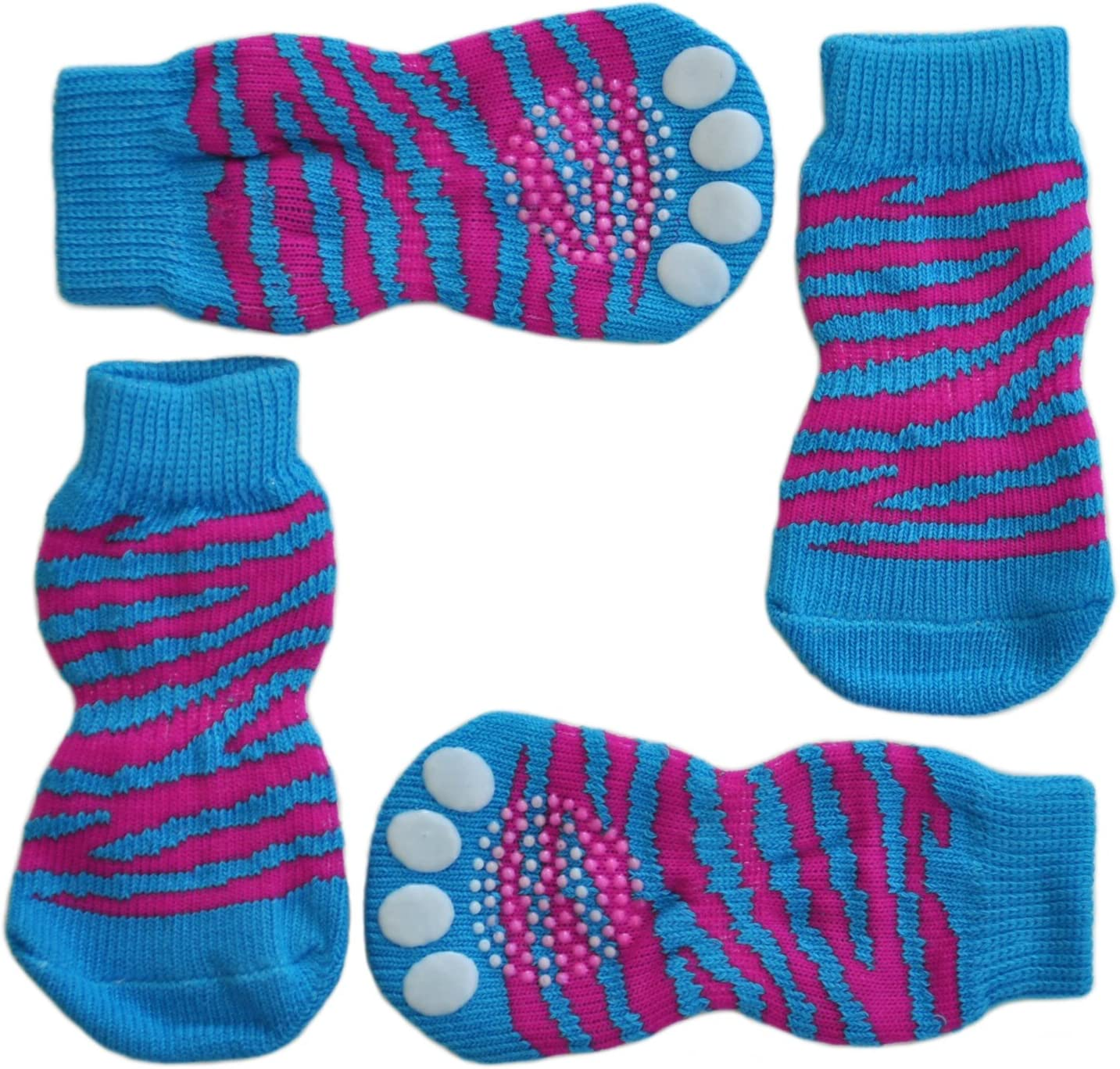 Slip On Paw Protectors Posch Anti-Slip Knit Socks for pets with Traction Soles for Indoor Wear