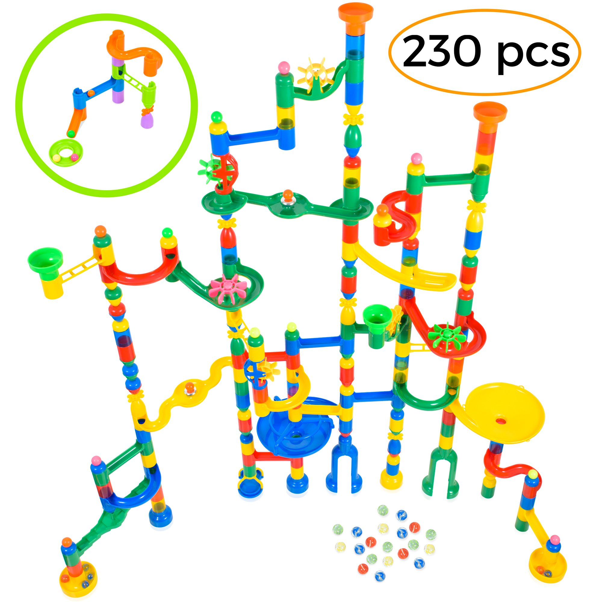 MagicJourney Giant Marble Run Toy Track Super Set Game 230 Piece Marble Maze Building Sets w/ 200 Colorful Marble Tracks, 30 Marbles & 4 Challenge Levels for STEM Learning, Endless Educational Fun