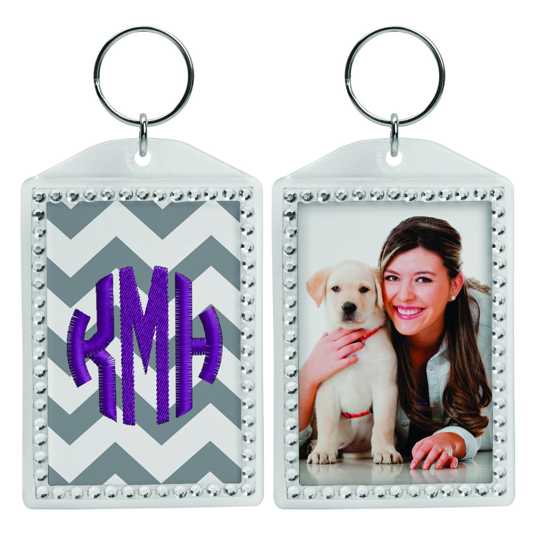 Rhinestone Acrylic Photo Snap-In Keychains - 72 Pack by Snapins