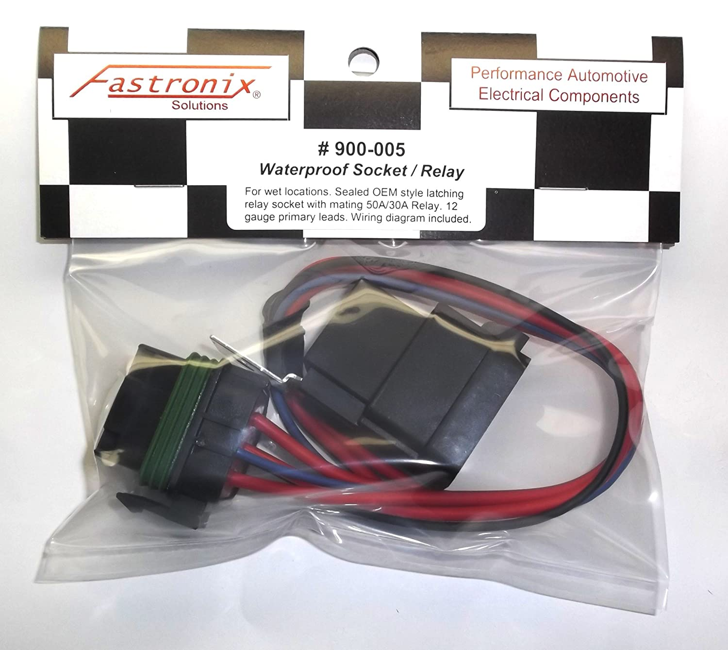 Fastronix 50 30 Amp Weatherproof Automotive Relay And Besides Latching Circuit Diagram On 8 Pin Wiring Socket Kit