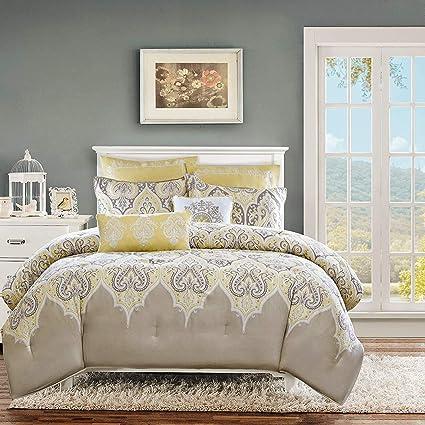 Amazon.com: KUP 5 Pc Yellow, Beautiful Comforter Set Twin, Master ...