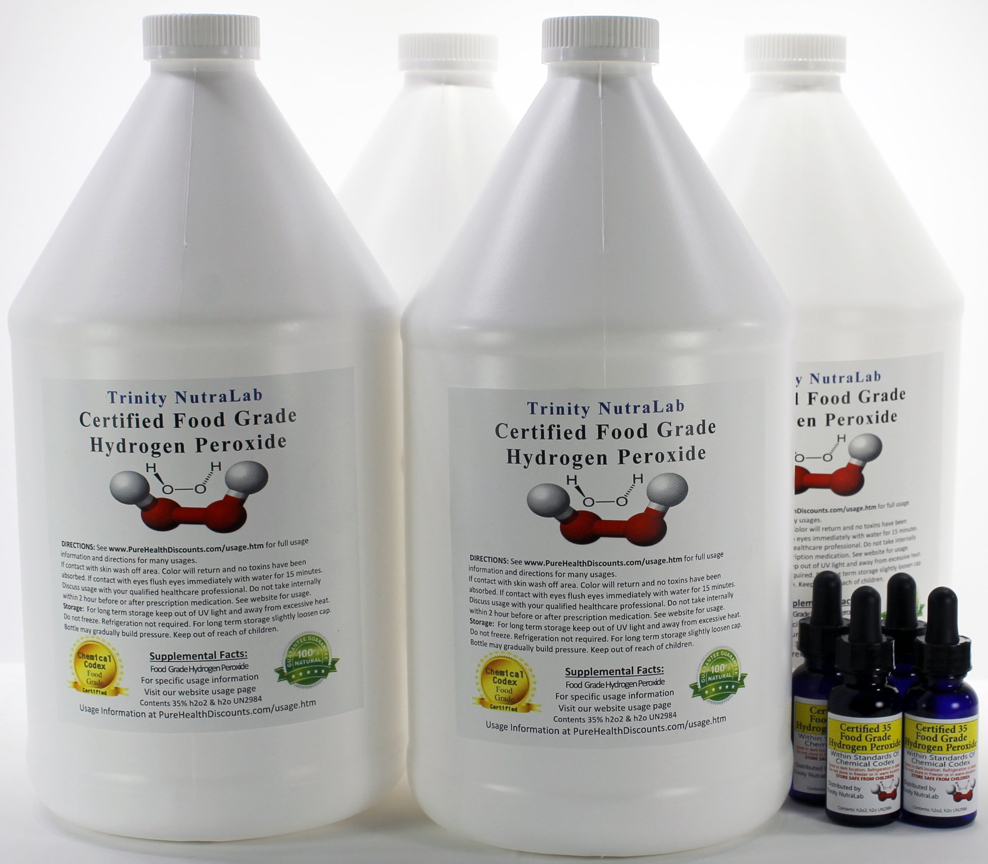 Four Gallons of 35% Food Grade Hydrogen Peroxide with Four Free H2o2 Filled Dropper Bottles. By Trinity NutraLab
