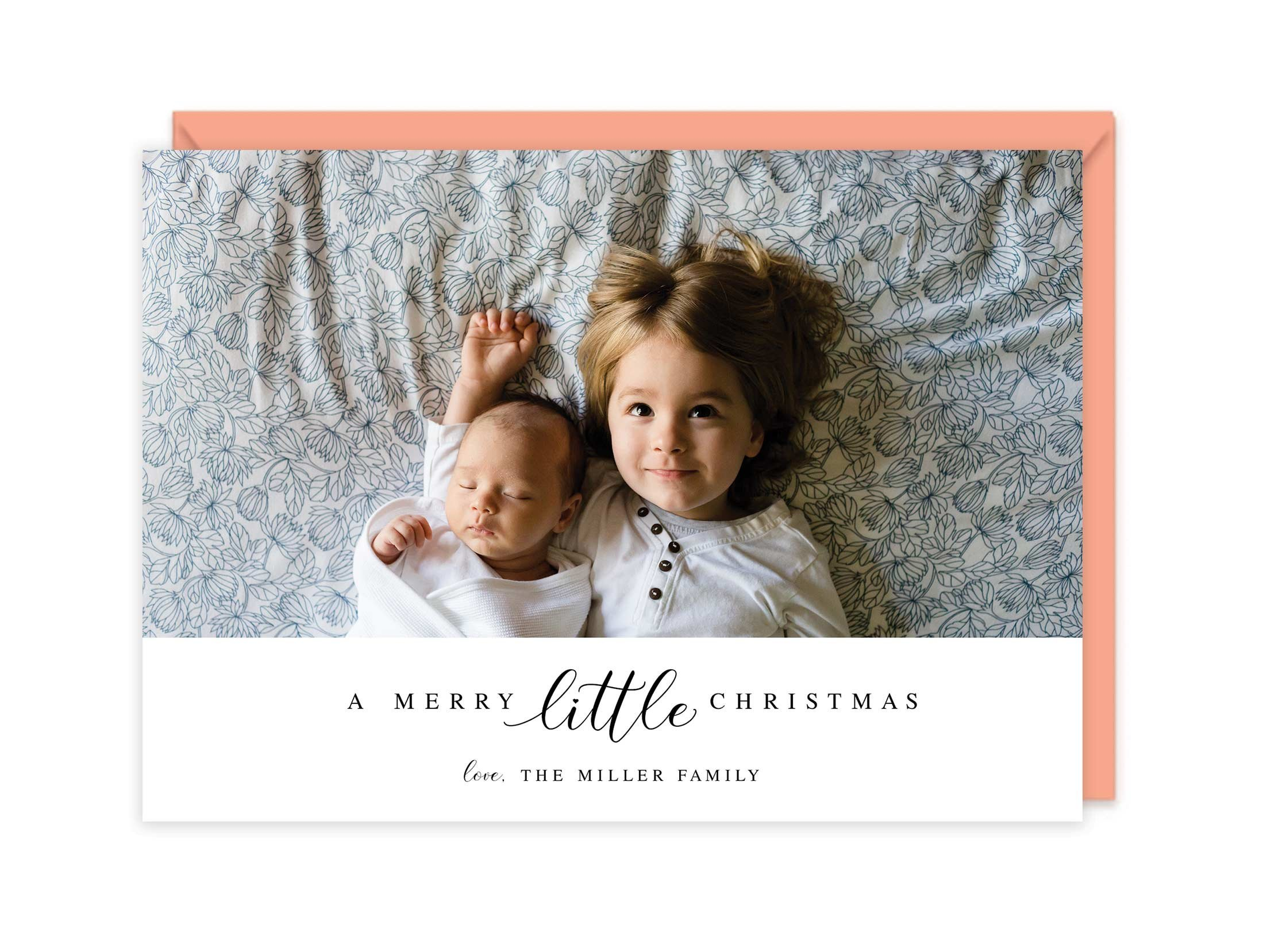 Personalized Photo Letterpress Christmas Cards - A Merry Little Christmas