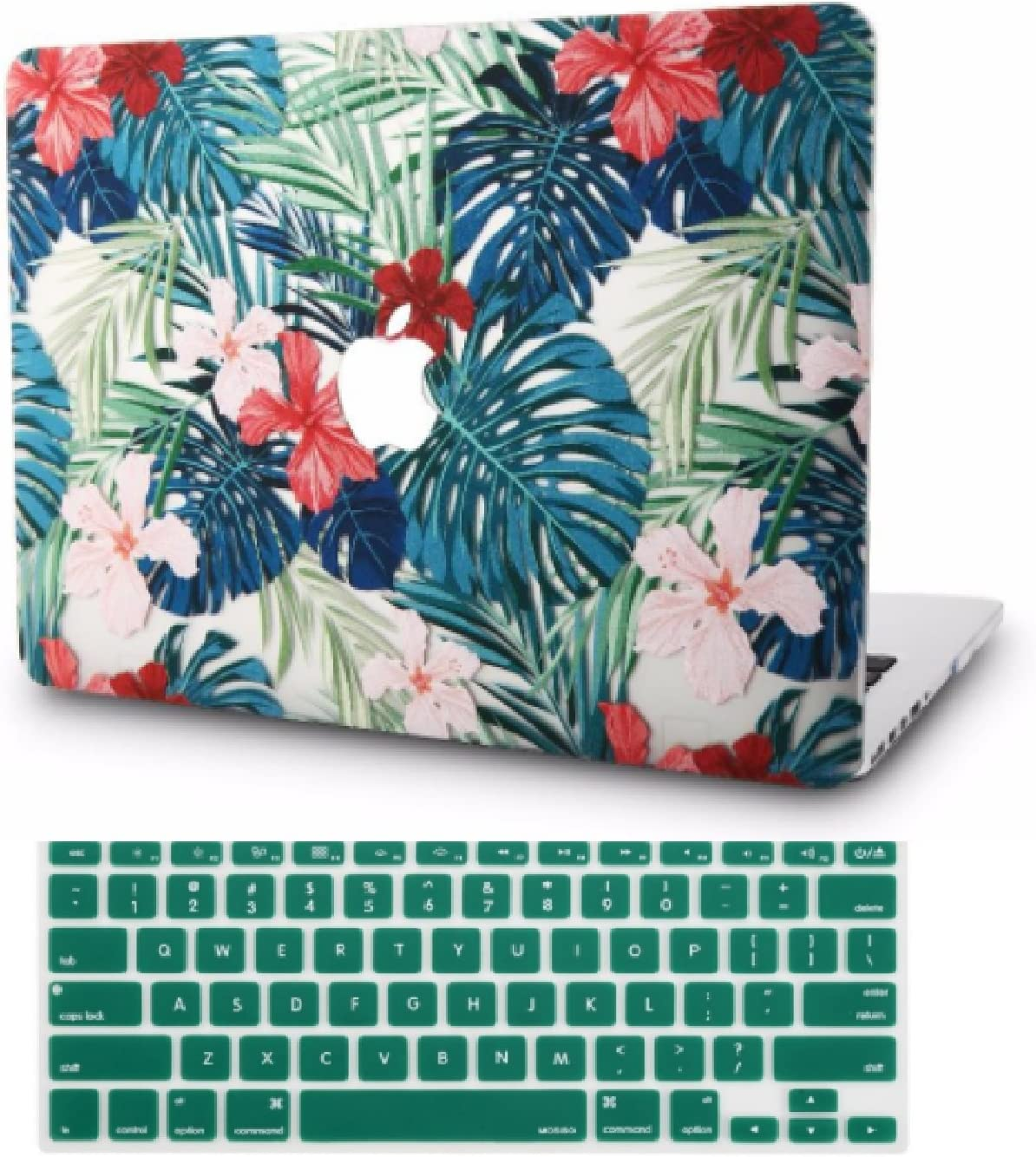 "KECC Laptop Case for MacBook Air 13"" w/Keyboard Cover Plastic Hard Shell Case A1466/A1369 2 in 1 Bundle (Palm Leaves Red Flower)"