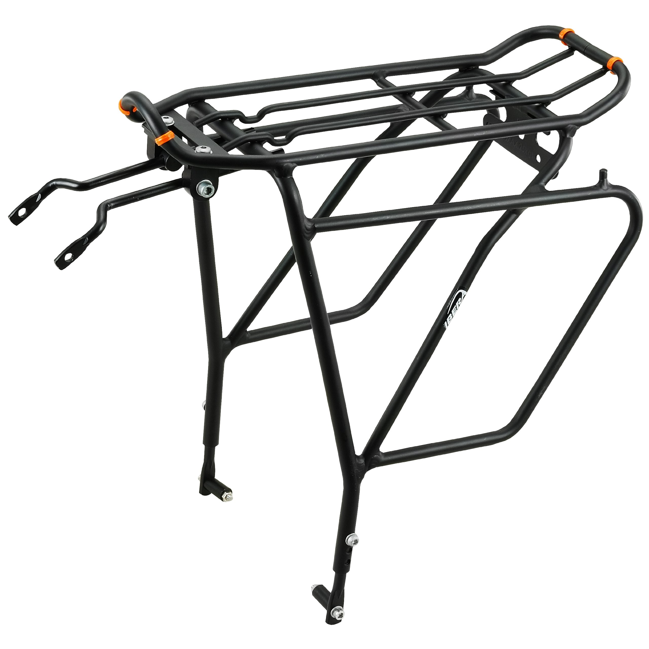 Ibera Bike Rack - Bicycle Touring Carrier Plus+ for Disc Brake Mount, Frame-Mounted for Heavier Top & Side Loads, Height Adjustable for 26''-29'' Frames
