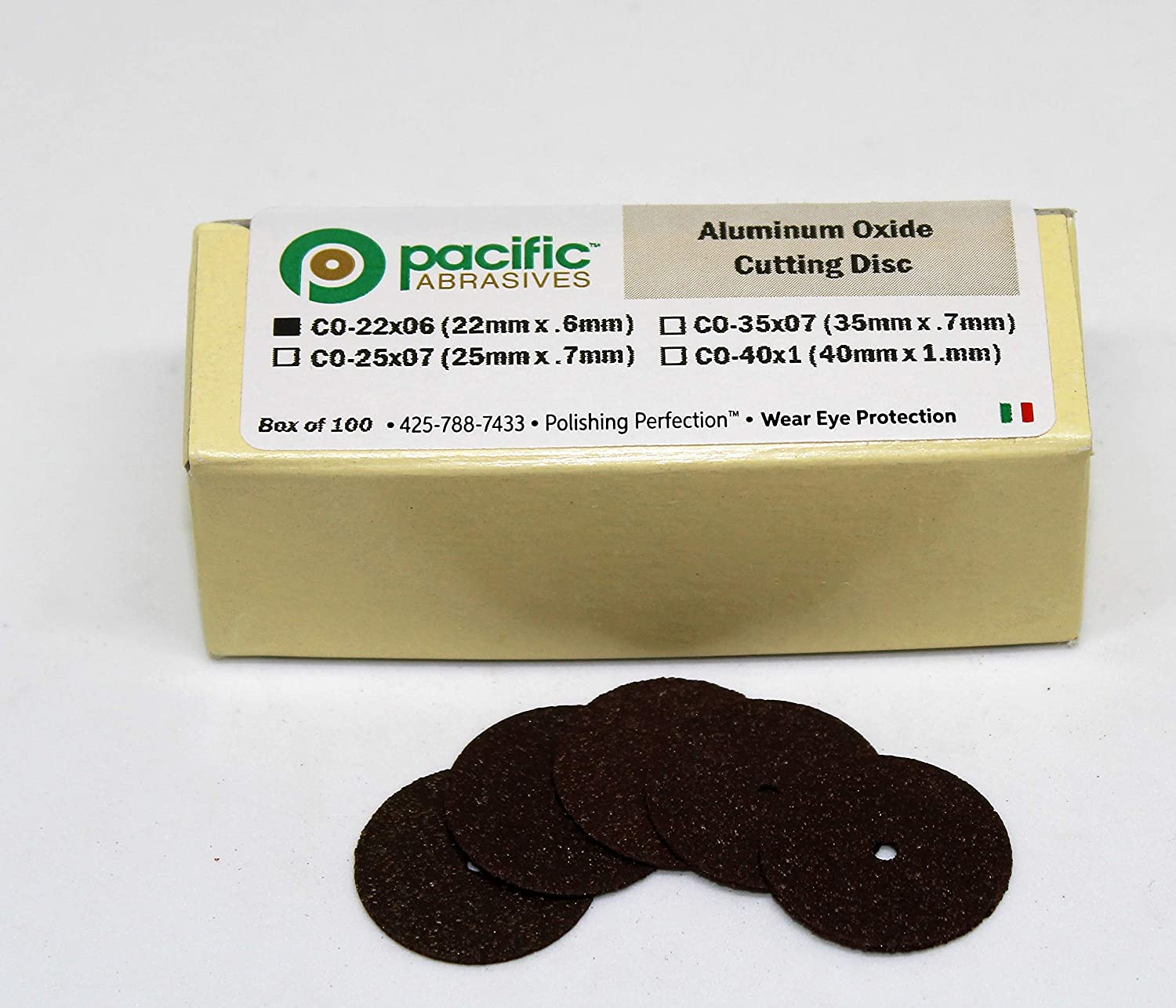 Pack of 100 Pacific Abrasives CO-22x0.6 Aluminum Oxide Cutting Discs