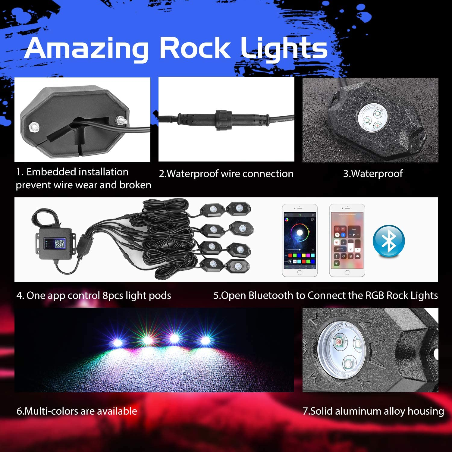 Auto Power Plus Neon Led Lights Waterproof Bluetooth Strobe Lights Underglow RGB led lights for Truck SUV ATV Boat Motorcycle Off Road Jeep 8 Pods RGB LED Rock Light Kit
