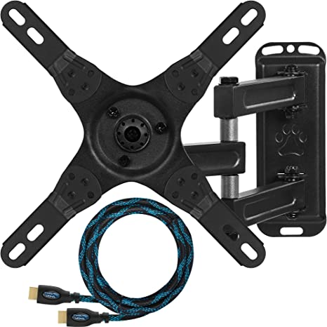 Cheetah Mounts ALAMEB Supporto da Parete e Soffitto per Monitor e TV LCD da 12 a 32 Pollici e fino a kg 13,6; con braccio articolato rotante e inclinazione regolabile Cavo HDMI Twisted Veins da m 3