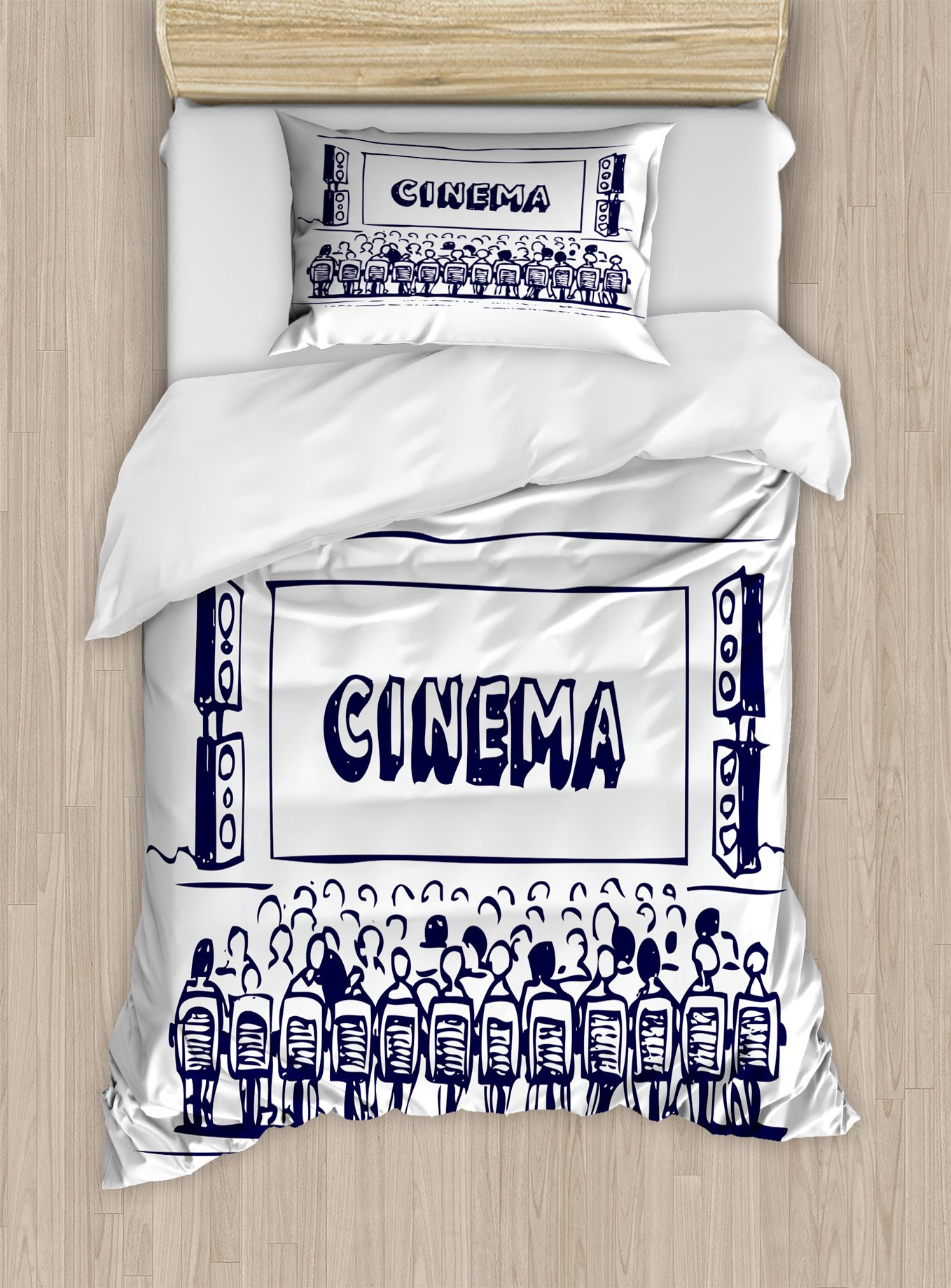Ambesonne Movie Theater Twin Size Duvet Cover Set, Hand Drawn Illustration Audience Sitting in Theater Waiting The Movie, Decorative 2 Piece Bedding Set with 1 Pillow Sham, Navy Blue White